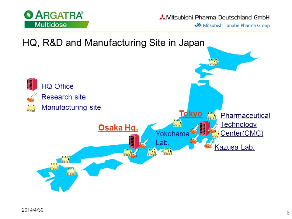 2014/4/30 6 HQ, R&D and Manufacturing Site in Japan HQ Office Research site Manufacturing site Kazusa Lab.