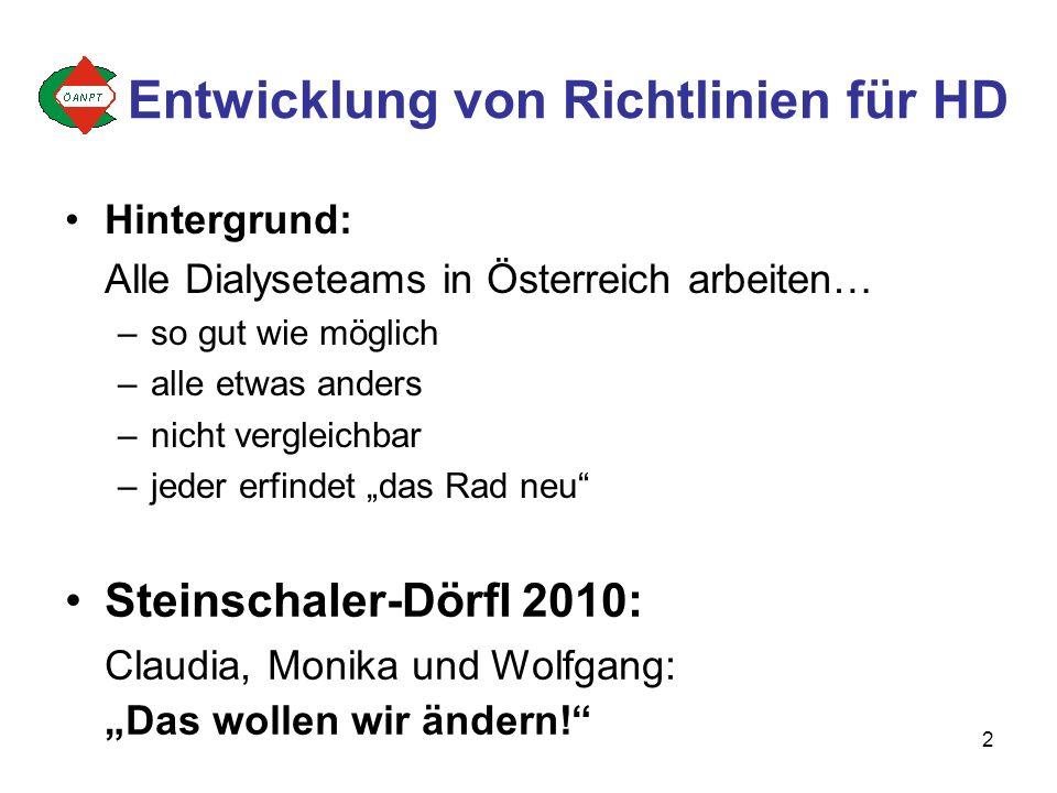 2 Entwicklung von Richtlinien für HD Hintergrund: Alle Dialyseteams in Österreich arbeiten… –so gut wie möglich –alle etwas anders –nicht vergleichbar –jeder erfindet das Rad neu Steinschaler-Dörfl 2010: Claudia, Monika und Wolfgang: Das wollen wir ändern!