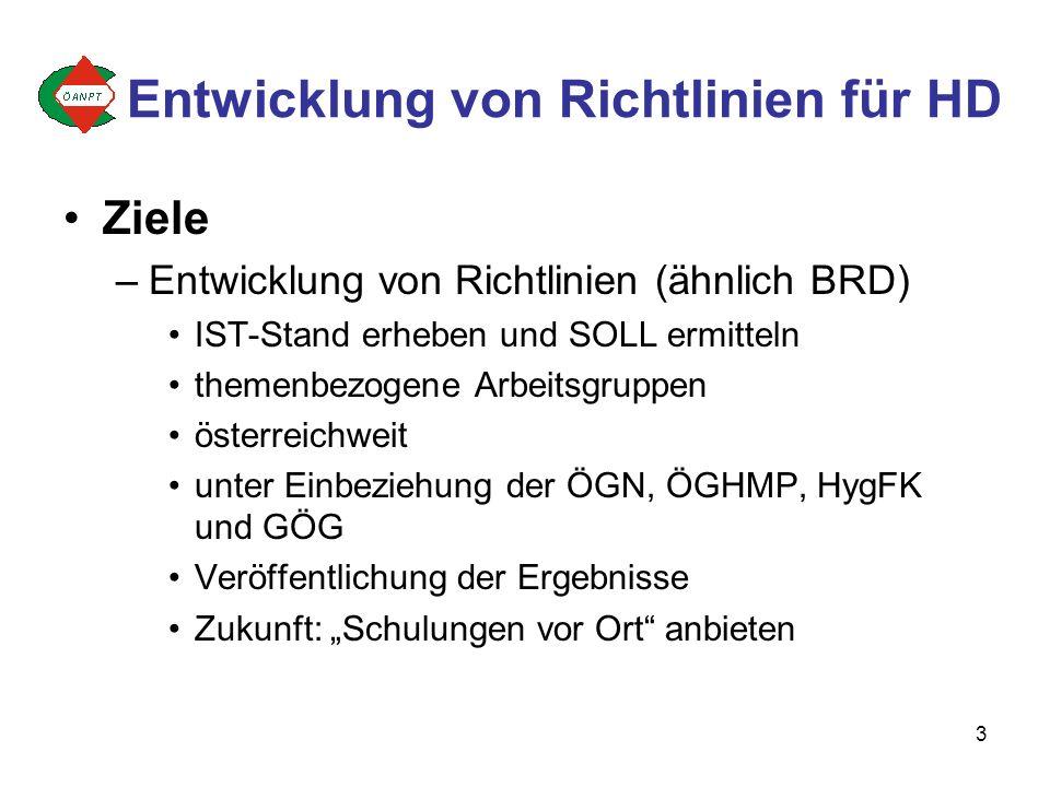 3 Ziele –Entwicklung von Richtlinien (ähnlich BRD) IST-Stand erheben und SOLL ermitteln themenbezogene Arbeitsgruppen österreichweit unter Einbeziehung der ÖGN, ÖGHMP, HygFK und GÖG Veröffentlichung der Ergebnisse Zukunft: Schulungen vor Ort anbieten Entwicklung von Richtlinien für HD
