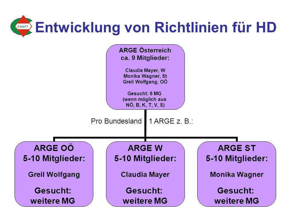 4 ARGE Österreich ca. 9 Mitglieder: Claudia Mayer, W Monika Wagner, St Greil Wolfgang, OÖ Gesucht: 6 MG (wenn möglich aus NÖ, B, K, T, V, S) ARGE OÖ 5