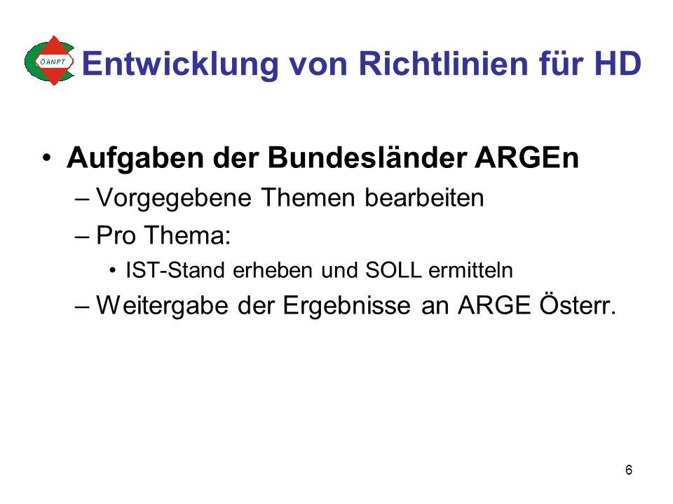 6 Aufgaben der Bundesländer ARGEn –Vorgegebene Themen bearbeiten –Pro Thema: IST-Stand erheben und SOLL ermitteln –Weitergabe der Ergebnisse an ARGE Österr.