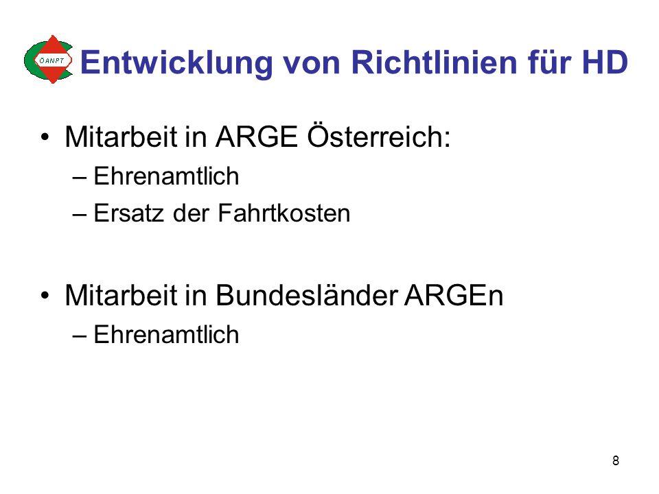 8 Mitarbeit in ARGE Österreich: –Ehrenamtlich –Ersatz der Fahrtkosten Mitarbeit in Bundesländer ARGEn –Ehrenamtlich Entwicklung von Richtlinien für HD