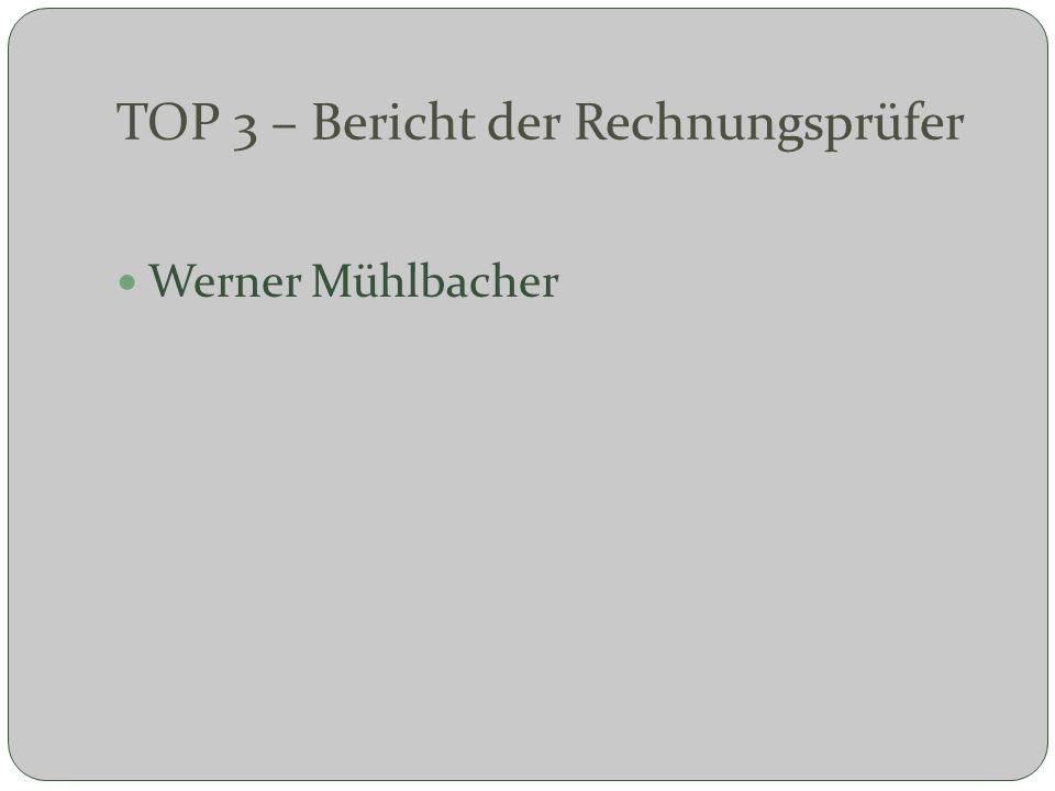 TOP 3 – Bericht der Rechnungsprüfer Werner Mühlbacher