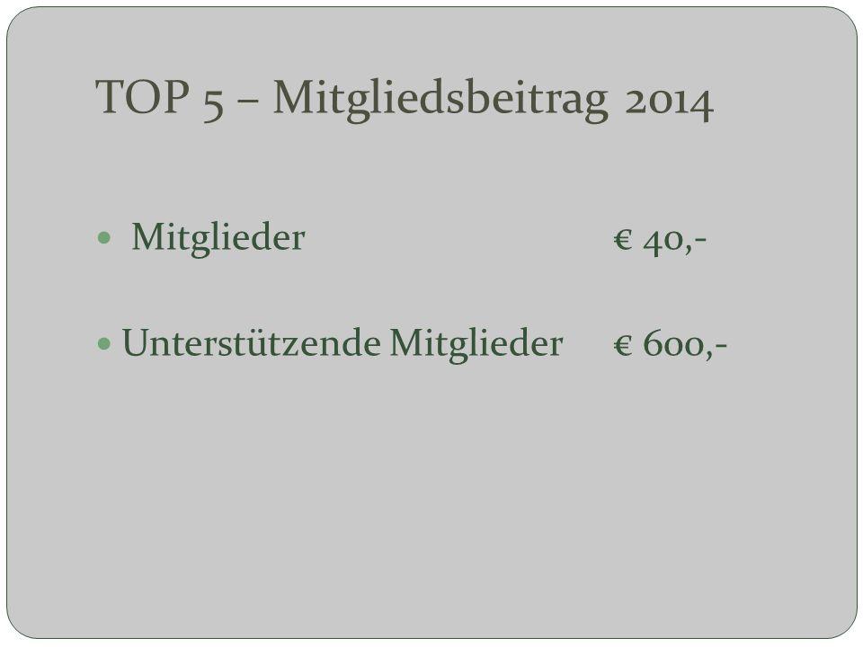TOP 5 – Mitgliedsbeitrag 2014 Mitglieder 40,- Unterstützende Mitglieder 600,-