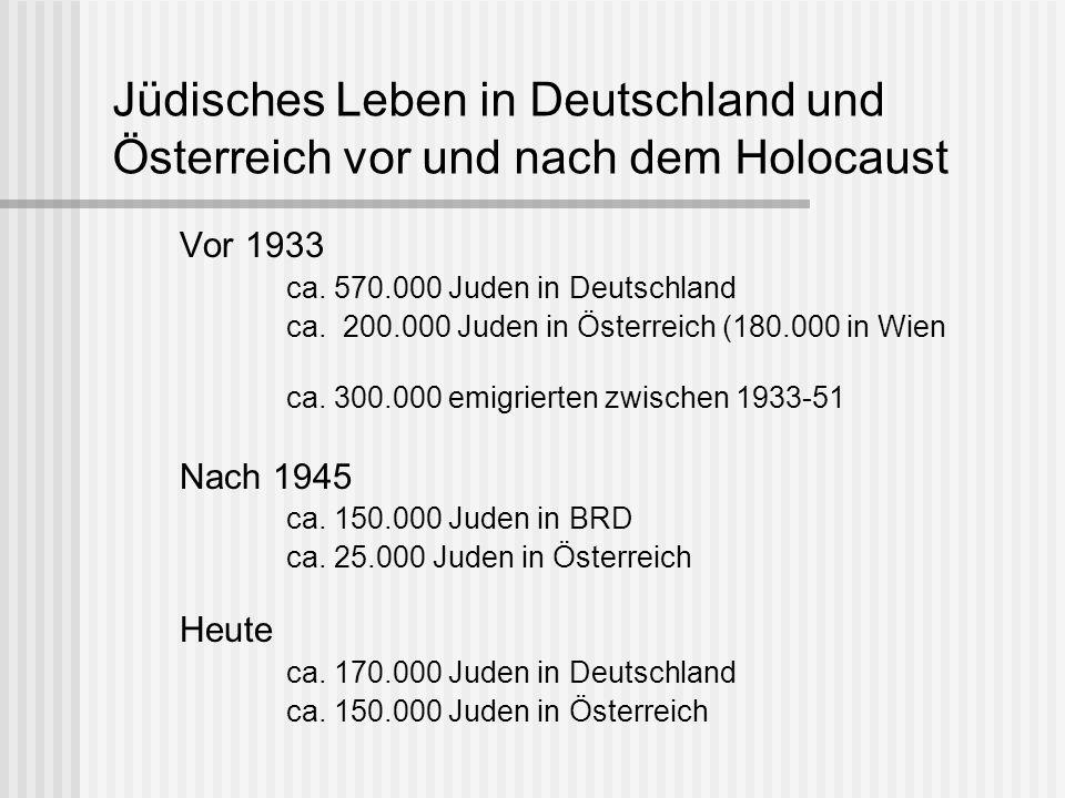 Jüdisches Leben in Deutschland und Österreich vor und nach dem Holocaust Vor 1933 ca. 570.000 Juden in Deutschland ca. 200.000 Juden in Österreich (18