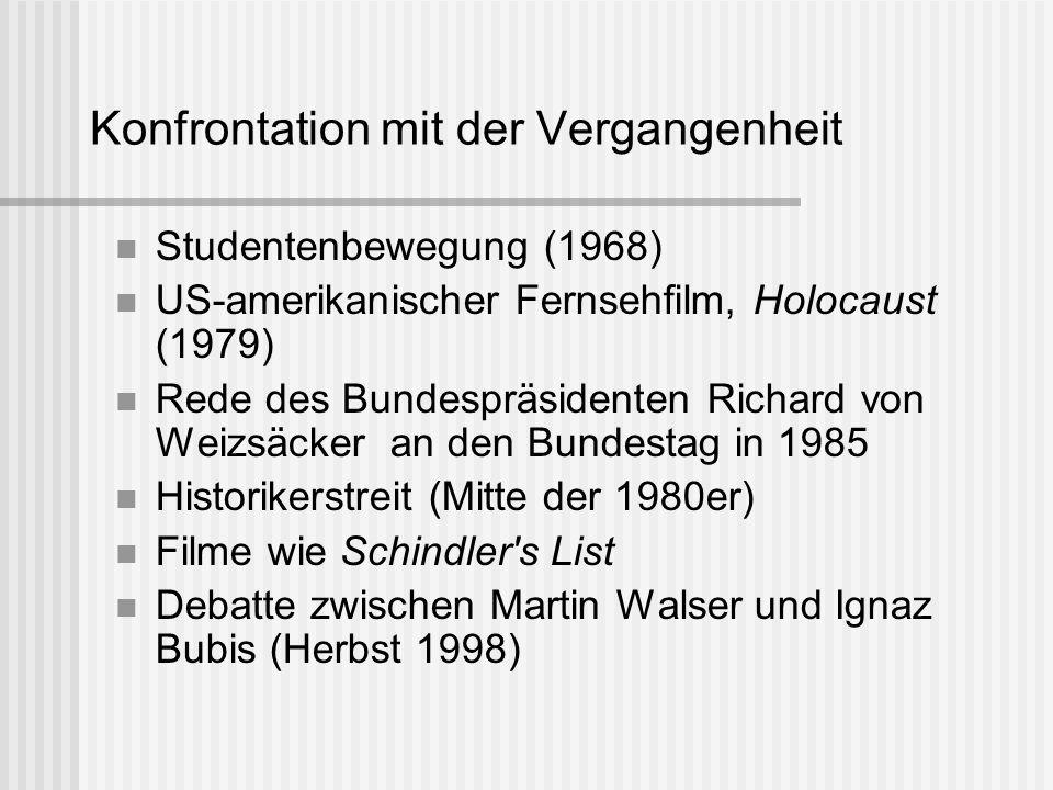 Konfrontation mit der Vergangenheit Studentenbewegung (1968) US-amerikanischer Fernsehfilm, Holocaust (1979) Rede des Bundespräsidenten Richard von We