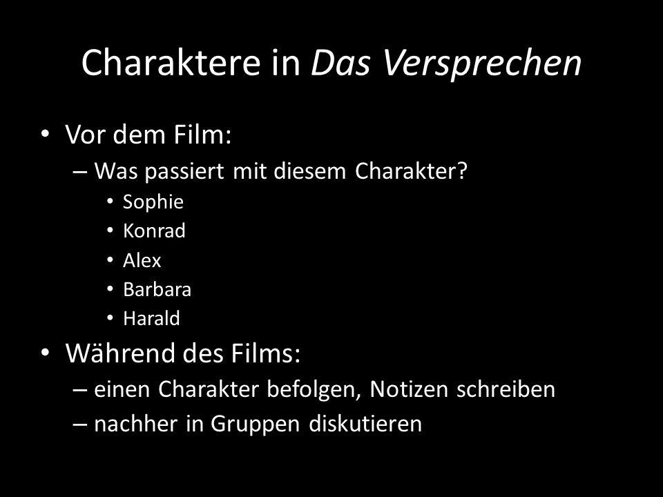 Charaktere in Das Versprechen Vor dem Film: – Was passiert mit diesem Charakter.