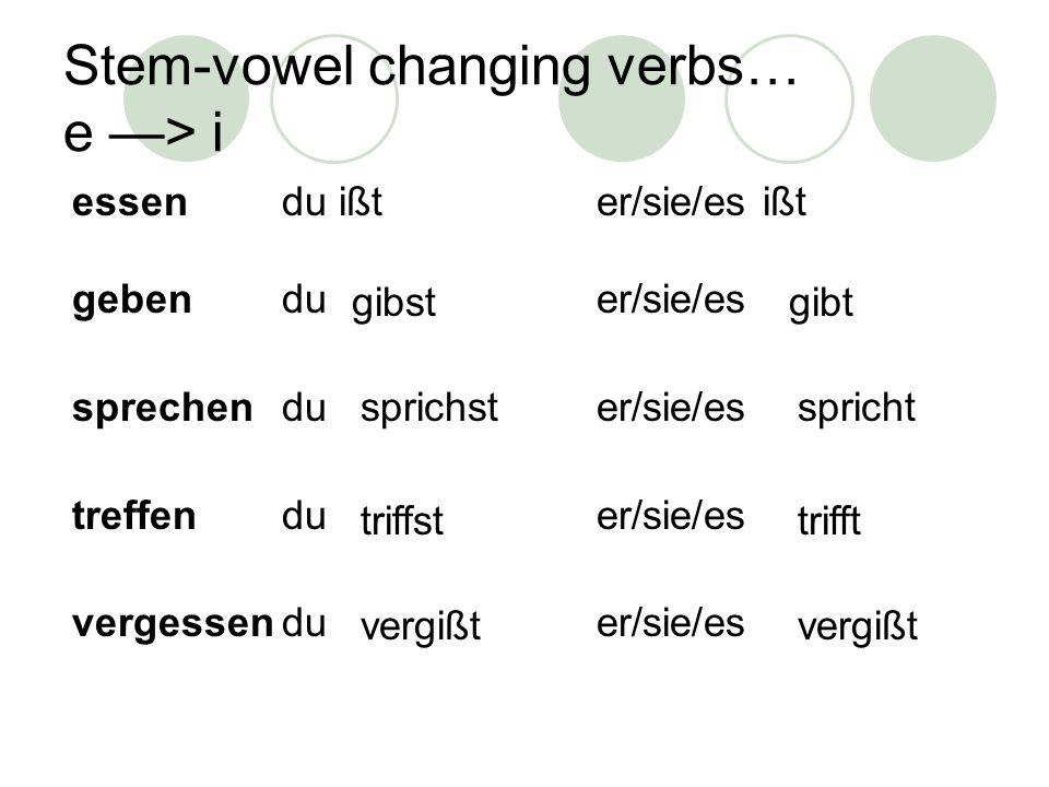 Stem-vowel changing verbs… e > ie lesendu liester/sie/es liest sehenduer/sie/es fernsehenduer/sie/es siehstsieht siehst fernsieht fern