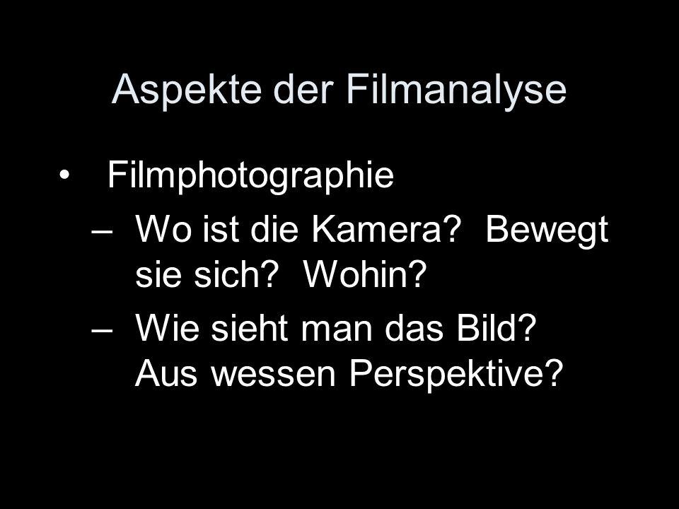 Aspekte der Filmanalyse Filmphotographie –Wo ist die Kamera? Bewegt sie sich? Wohin? –Wie sieht man das Bild? Aus wessen Perspektive?
