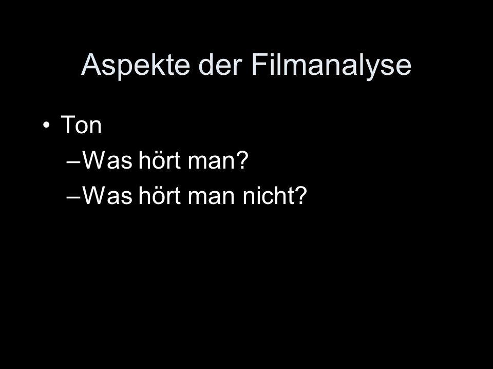Aspekte der Filmanalyse Ton –Was hört man? –Was hört man nicht?