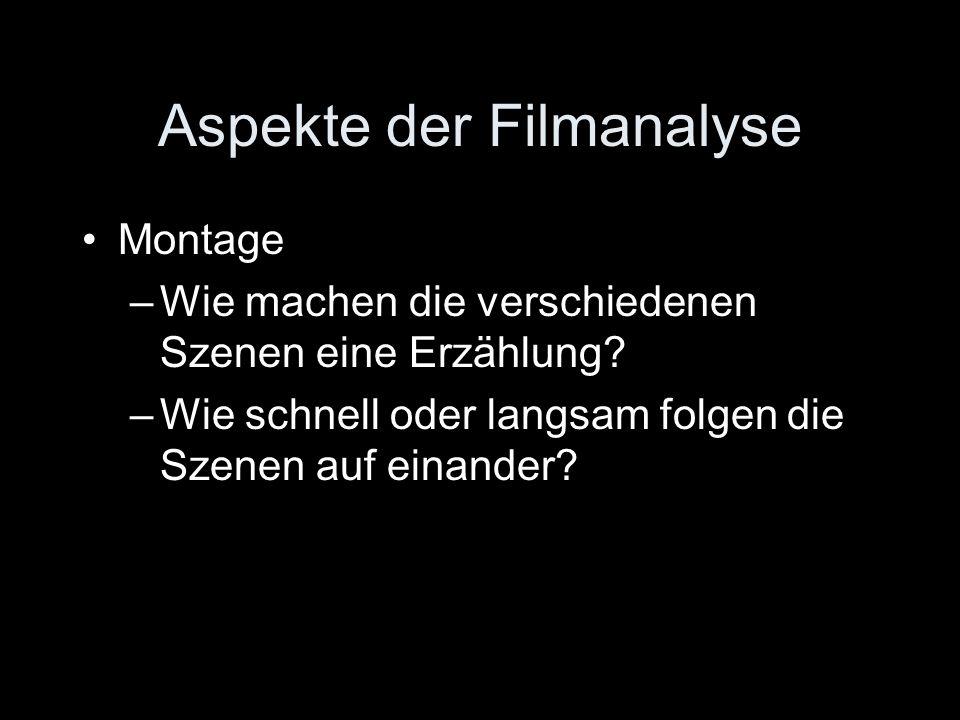 Aspekte der Filmanalyse Montage –Wie machen die verschiedenen Szenen eine Erzählung? –Wie schnell oder langsam folgen die Szenen auf einander?