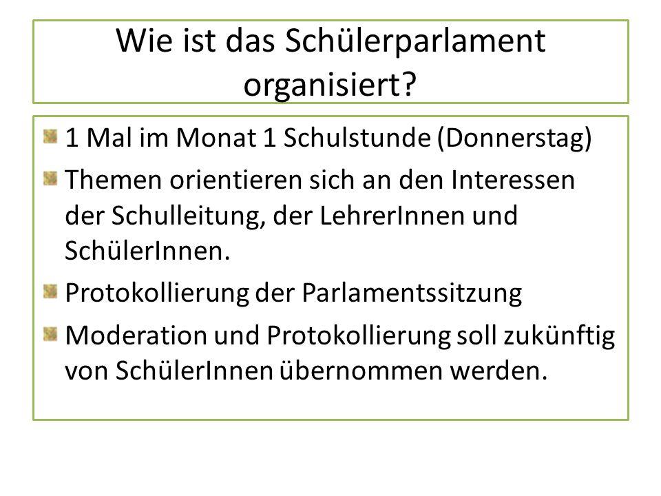 Wie ist das Schülerparlament organisiert? 1 Mal im Monat 1 Schulstunde (Donnerstag) Themen orientieren sich an den Interessen der Schulleitung, der Le