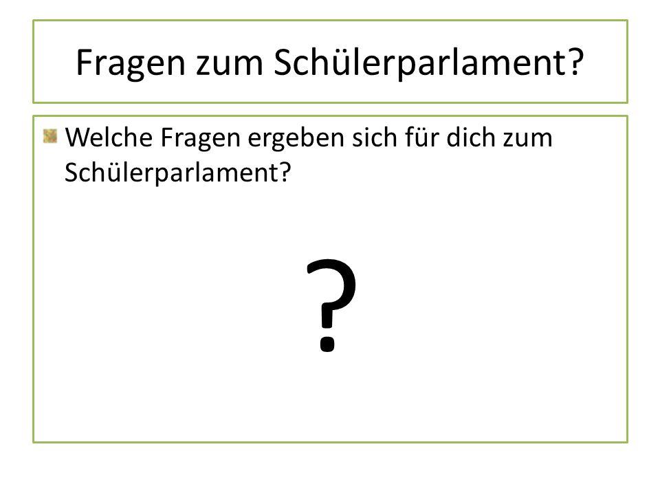 Fragen zum Schülerparlament? Welche Fragen ergeben sich für dich zum Schülerparlament? ?