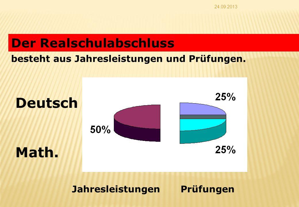 24.09.2013 Der Realschulabschluss besteht aus Jahresleistungen und Prüfungen. Deutsch Math. JahresleistungenPrüfungen