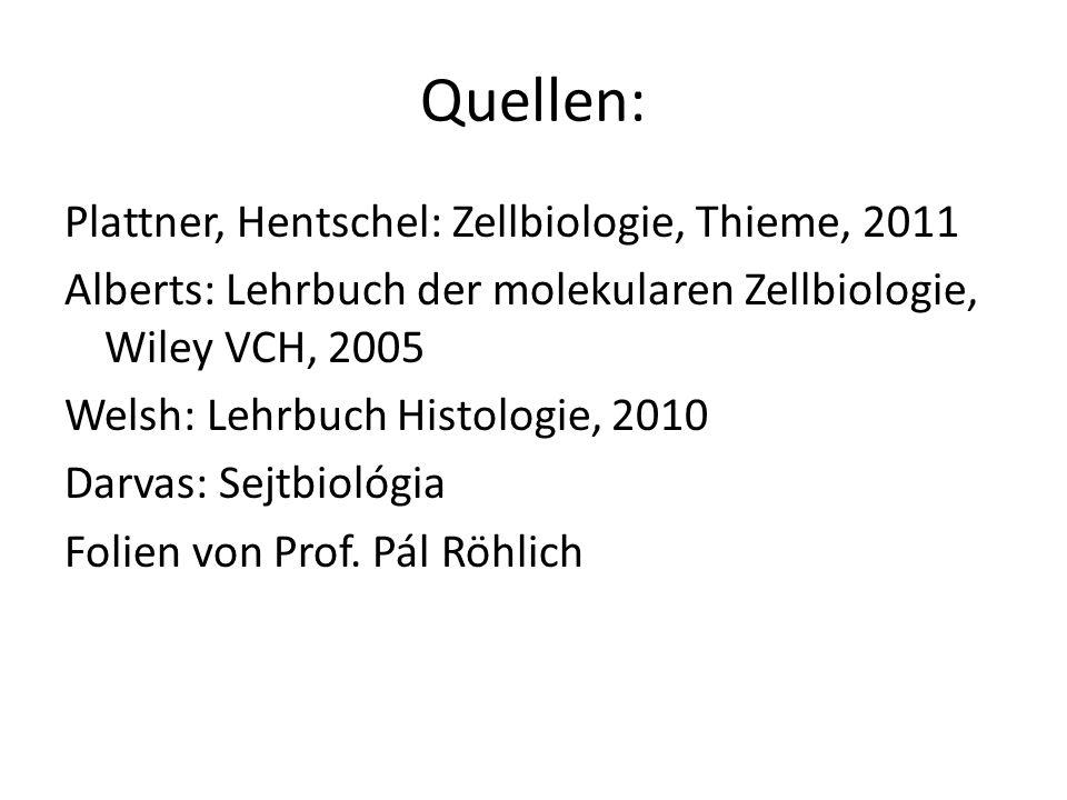 Quellen: Plattner, Hentschel: Zellbiologie, Thieme, 2011 Alberts: Lehrbuch der molekularen Zellbiologie, Wiley VCH, 2005 Welsh: Lehrbuch Histologie, 2