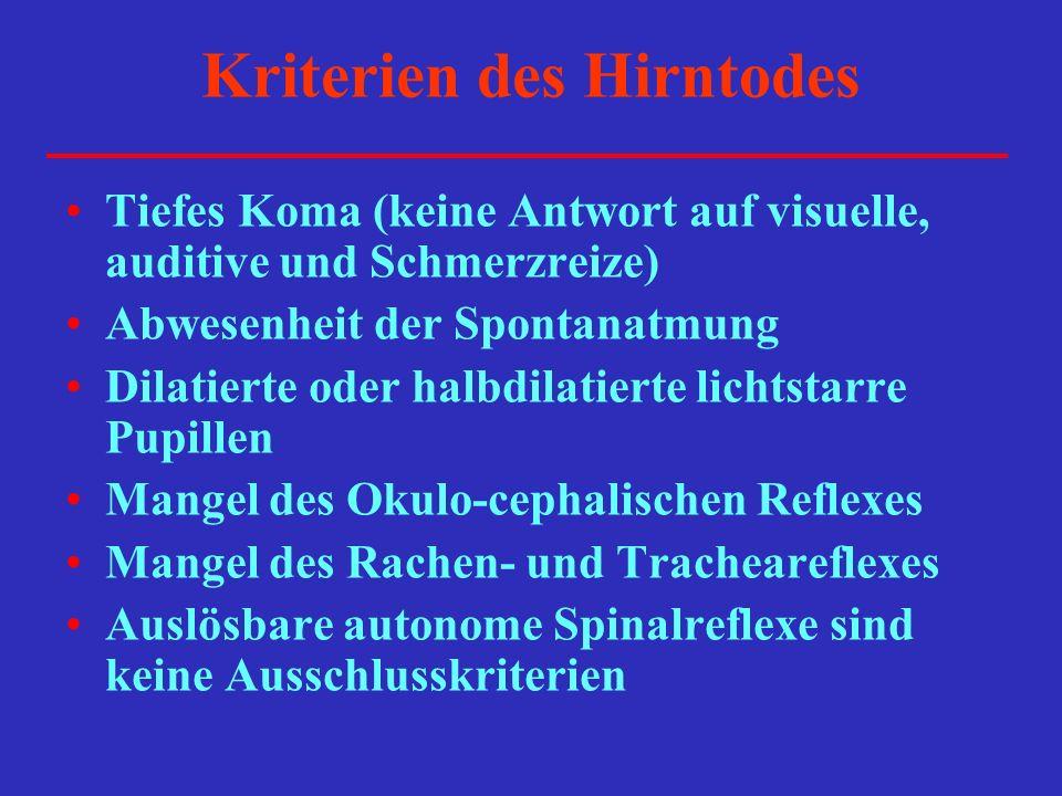 Kriterien des Hirntodes Tiefes Koma (keine Antwort auf visuelle, auditive und Schmerzreize) Abwesenheit der Spontanatmung Dilatierte oder halbdilatier