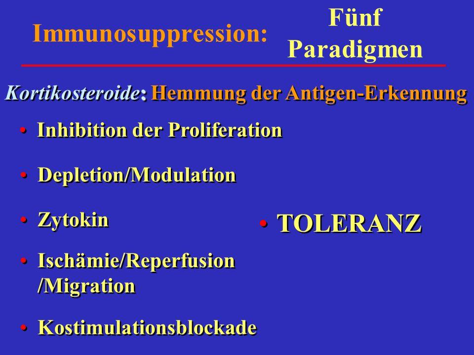 Immunosuppression: Inhibition der Proliferation Depletion/Modulation Zytokin Ischämie/Reperfusion /Migration Kostimulationsblockade : Kortikosteroide: