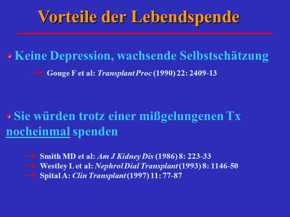 Vorteile der Lebendspende Keine Depression, wachsende Selbstschätzung Gouge F et al: Transplant Proc (1990) 22: 2409-13 Sie würden trotz einer mißgelu