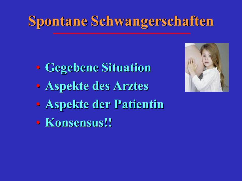 Spontane Schwangerschaften Gegebene Situation Aspekte des Arztes Aspekte der Patientin Konsensus!! Gegebene Situation Aspekte des Arztes Aspekte der P
