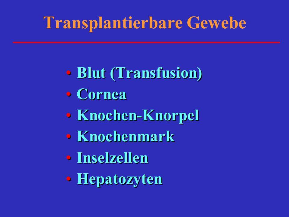 Transplantierbare Gewebe Blut (Transfusion) Cornea Knochen-Knorpel Knochenmark Inselzellen Hepatozyten Blut (Transfusion) Cornea Knochen-Knorpel Knoch
