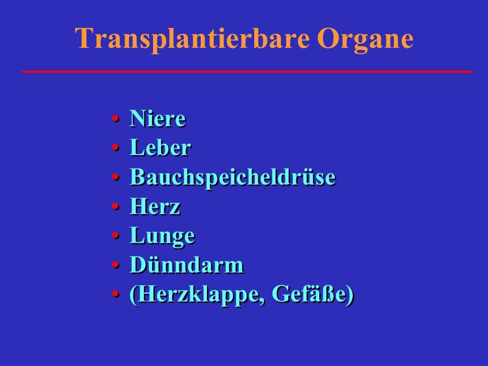 Transplantierbare Organe Niere Leber Bauchspeicheldrüse Herz Lunge Dünndarm (Herzklappe, Gefäße) Niere Leber Bauchspeicheldrüse Herz Lunge Dünndarm (H