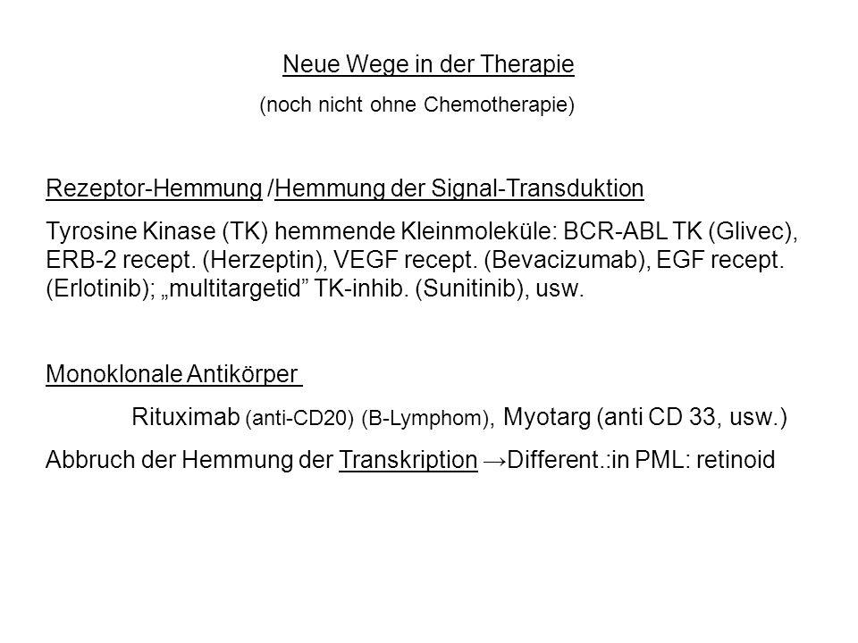 Neue Wege in der Therapie (noch nicht ohne Chemotherapie) Rezeptor-Hemmung /Hemmung der Signal-Transduktion Tyrosine Kinase (TK) hemmende Kleinmolekül