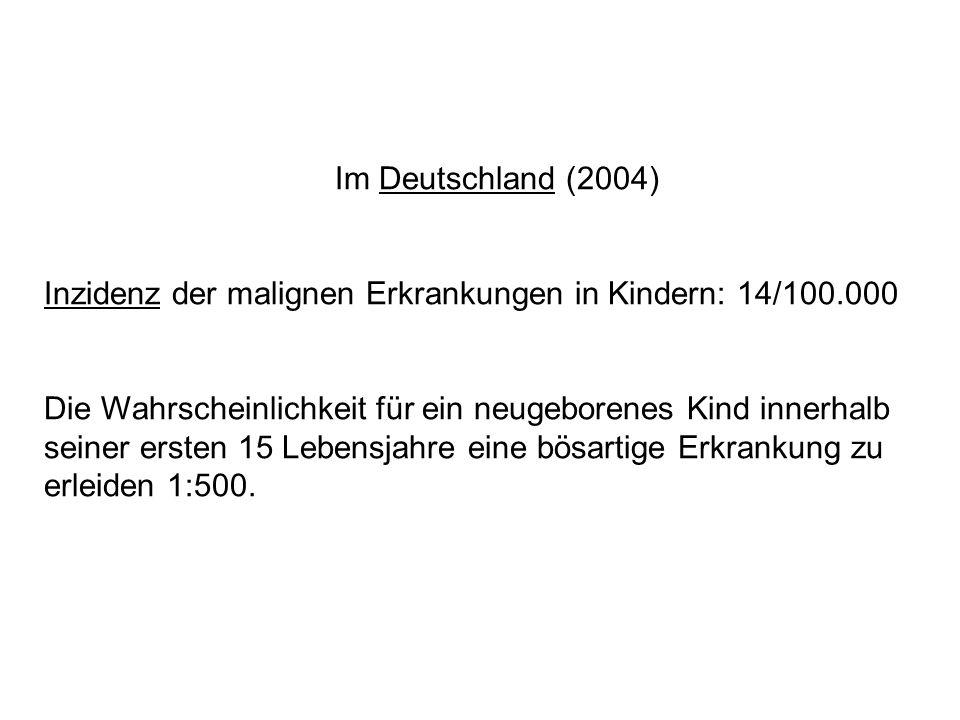 Im Deutschland (2004) Inzidenz der malignen Erkrankungen in Kindern: 14/100.000 Die Wahrscheinlichkeit für ein neugeborenes Kind innerhalb seiner erst