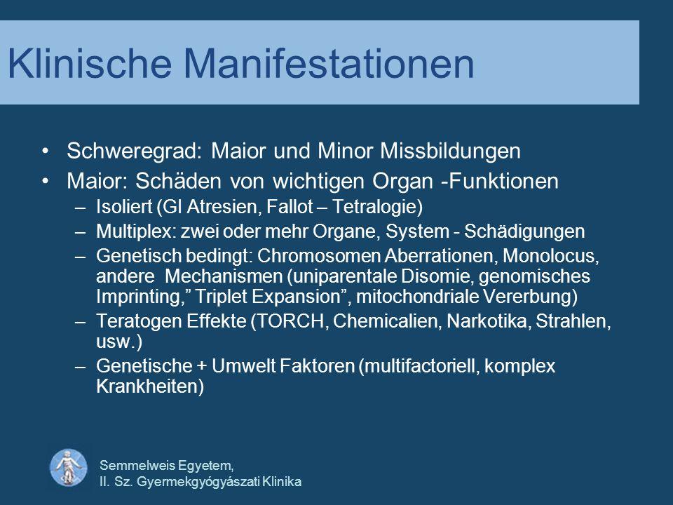 Semmelweis Egyetem, II. Sz. Gyermekgyógyászati Klinika Klinische Manifestationen Schweregrad: Maior und Minor Missbildungen Maior: Schäden von wichtig