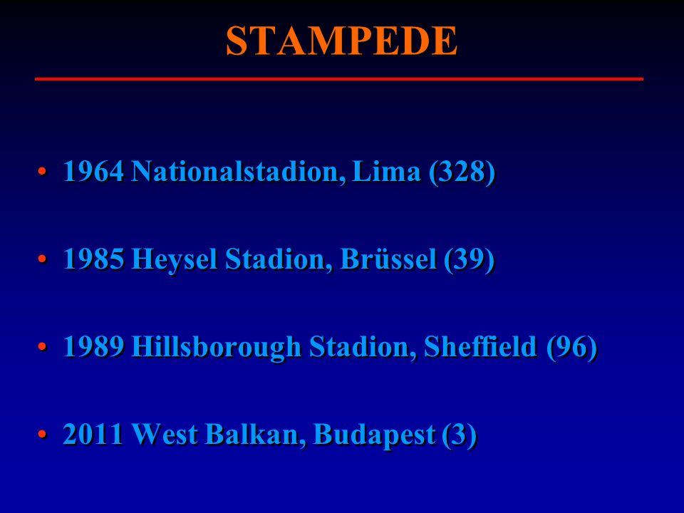 STAMPEDE 1964 Nationalstadion, Lima (328) 1985 Heysel Stadion, Brüssel (39) 1989 Hillsborough Stadion, Sheffield (96) 2011 West Balkan, Budapest (3) 1