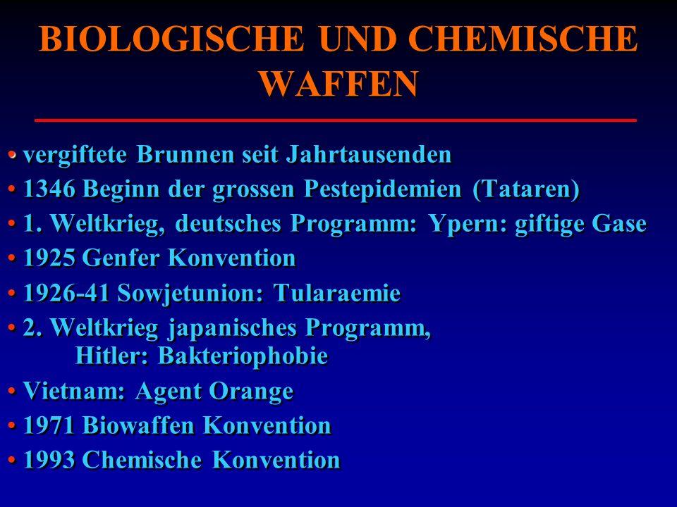 BIOLOGISCHE UND CHEMISCHE WAFFEN vergiftete Brunnen seit Jahrtausenden 1346 Beginn der grossen Pestepidemien (Tataren) 1. Weltkrieg, deutsches Program