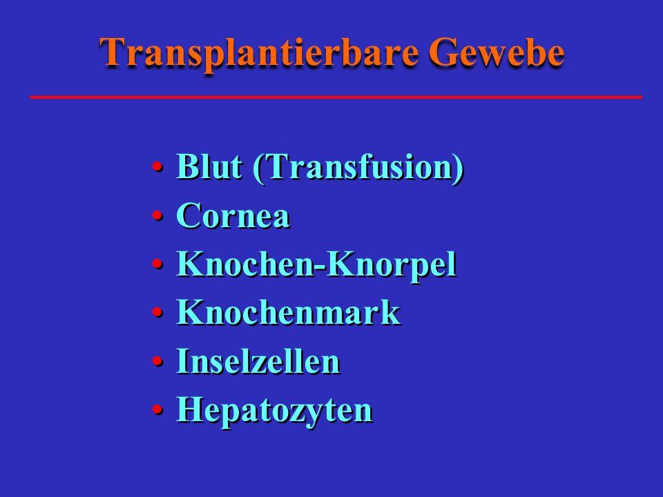 Transplantierbare Gewebe Blut (Transfusion) Cornea Knochen-Knorpel Knochenmark Inselzellen Hepatozyten Blut (Transfusion) Cornea Knochen-Knorpel Knochenmark Inselzellen Hepatozyten