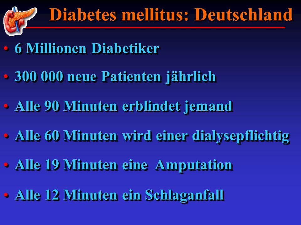 Diabetes mellitus: Deutschland Diabetes mellitus: Deutschland Alle 19 Minuten eine AmputationAlle 19 Minuten eine Amputation Alle 60 Minuten wird eine