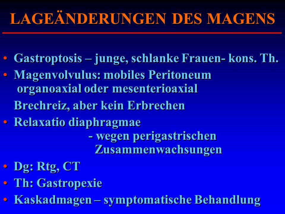 LAGEÄNDERUNGEN DES MAGENS Gastroptosis – junge, schlanke Frauen- kons. Th. Magenvolvulus: mobiles Peritoneum organoaxial oder mesenterioaxial Brechrei