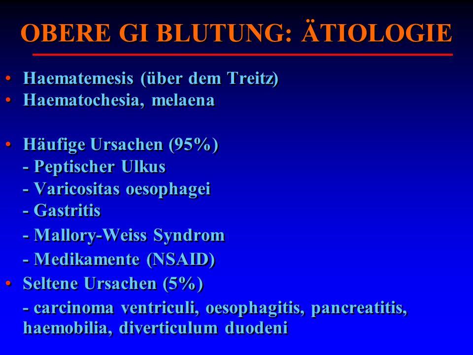 OBERE GI BLUTUNG: ÄTIOLOGIE Haematemesis (über dem Treitz) Haematochesia, melaena Häufige Ursachen (95%) - Peptischer Ulkus - Varicositas oesophagei -