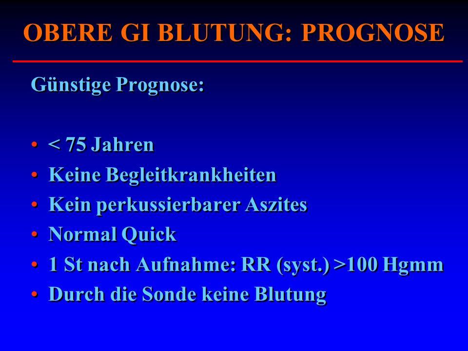 OBERE GI BLUTUNG: PROGNOSE Günstige Prognose: < 75 Jahren Keine Begleitkrankheiten Kein perkussierbarer Aszites Normal Quick 1 St nach Aufnahme: RR (s