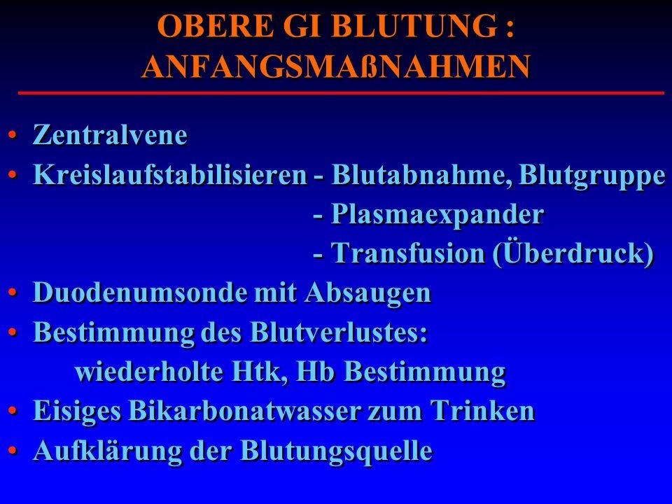 OBERE GI BLUTUNG : ANFANGSMAßNAHMEN Zentralvene Kreislaufstabilisieren - Blutabnahme, Blutgruppe - Plasmaexpander - Transfusion (Überdruck) Duodenumso