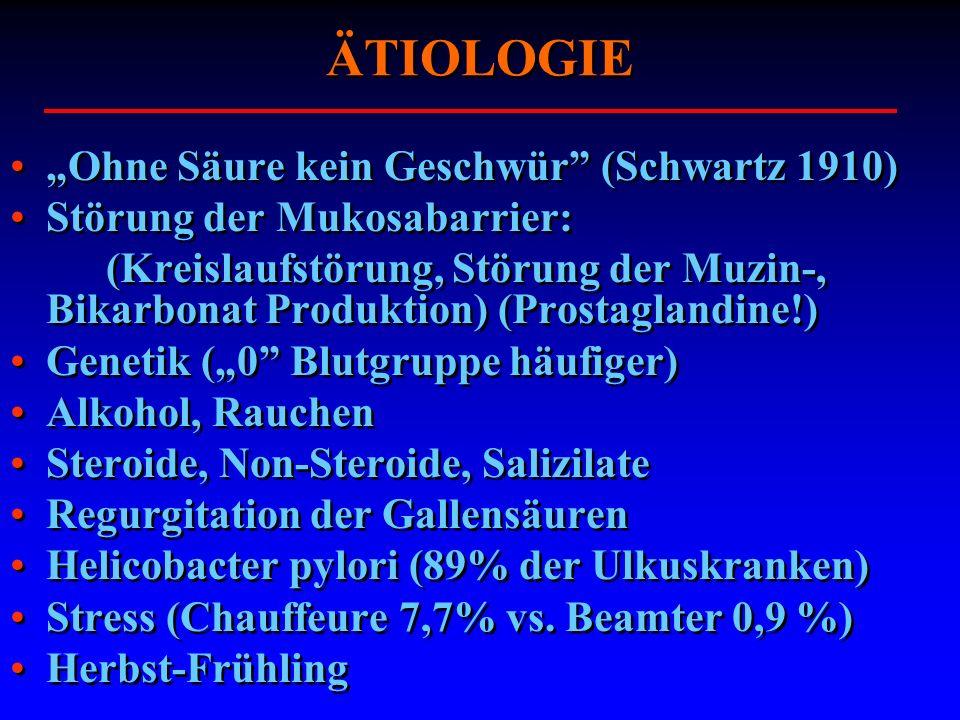 ÄTIOLOGIE Ohne Säure kein Geschwür (Schwartz 1910) Störung der Mukosabarrier: (Kreislaufstörung, Störung der Muzin-, Bikarbonat Produktion) (Prostagla