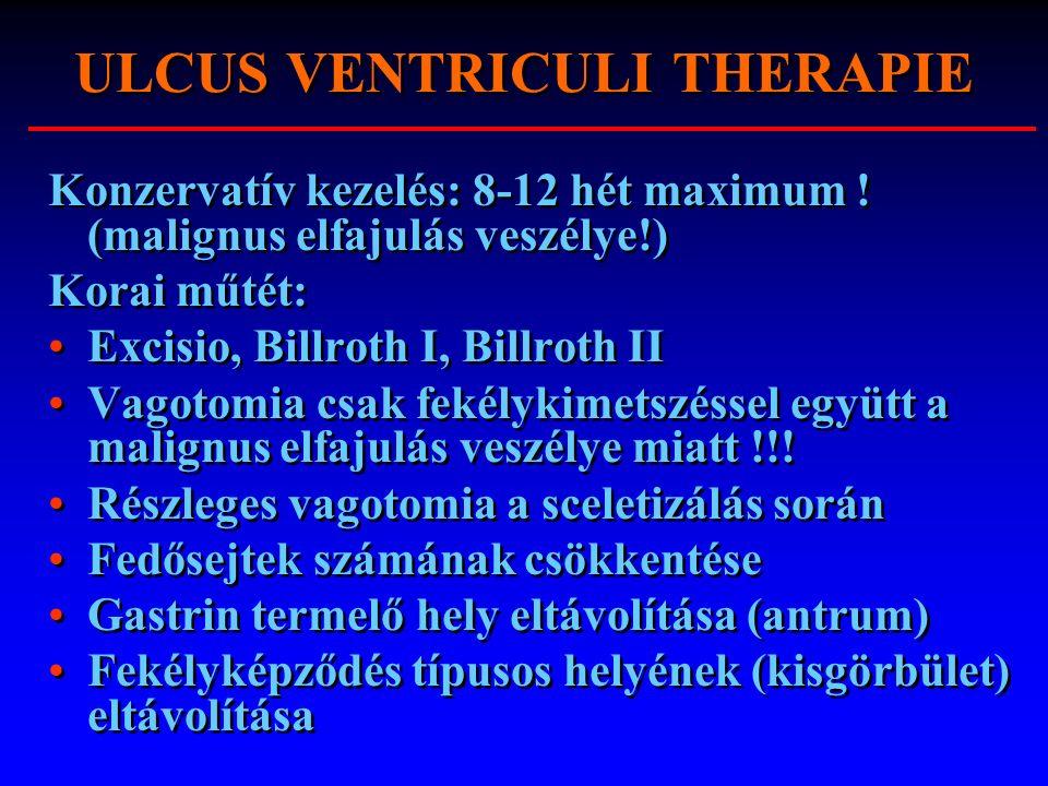 ULCUS VENTRICULI THERAPIE Konzervatív kezelés: 8-12 hét maximum ! (malignus elfajulás veszélye!) Korai műtét: Excisio, Billroth I, Billroth II Vagotom