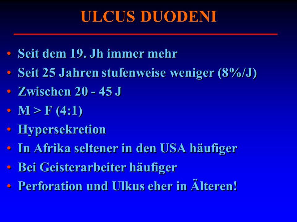 ULCUS DUODENI Seit dem 19. Jh immer mehr Seit 25 Jahren stufenweise weniger (8%/J) Zwischen 20 - 45 J M > F (4:1) Hypersekretion In Afrika seltener in