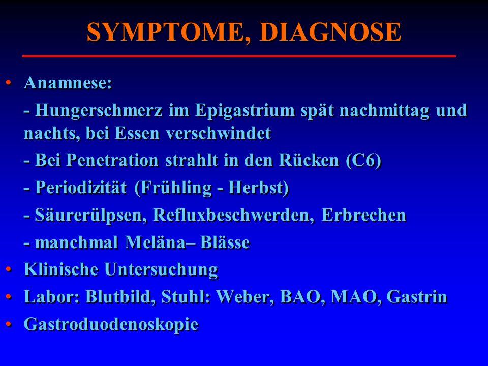 SYMPTOME, DIAGNOSE Anamnese: - Hungerschmerz im Epigastrium spät nachmittag und nachts, bei Essen verschwindet - Bei Penetration strahlt in den Rücken
