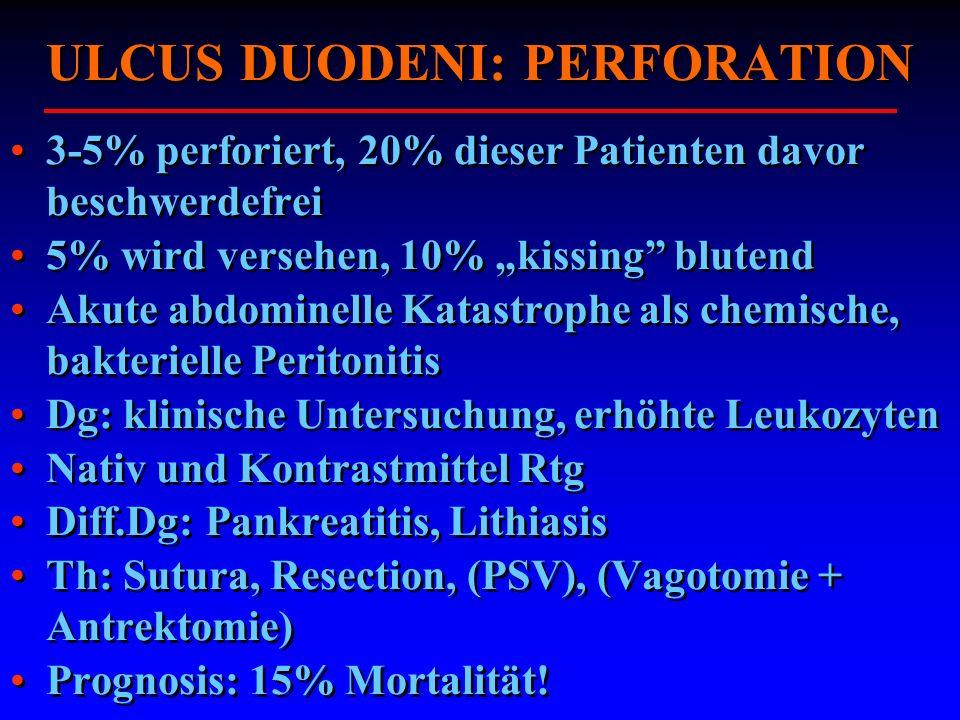 ULCUS DUODENI: PERFORATION 3-5% perforiert, 20% dieser Patienten davor beschwerdefrei 5% wird versehen, 10% kissing blutend Akute abdominelle Katastro