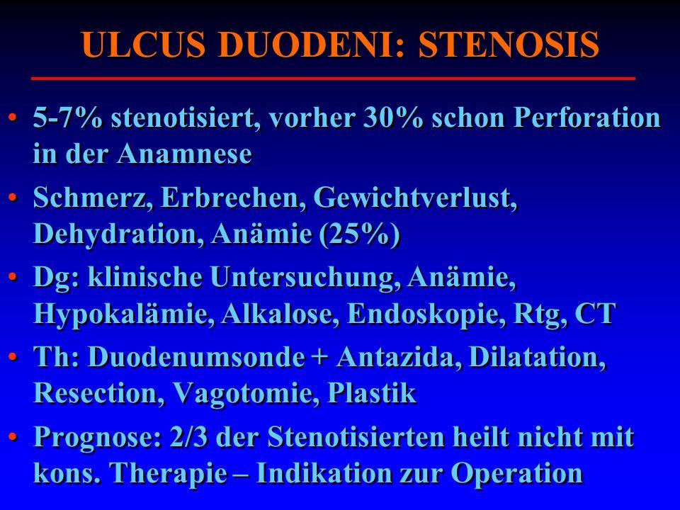 5-7% stenotisiert, vorher 30% schon Perforation in der Anamnese Schmerz, Erbrechen, Gewichtverlust, Dehydration, Anämie (25%) Dg: klinische Untersuchu