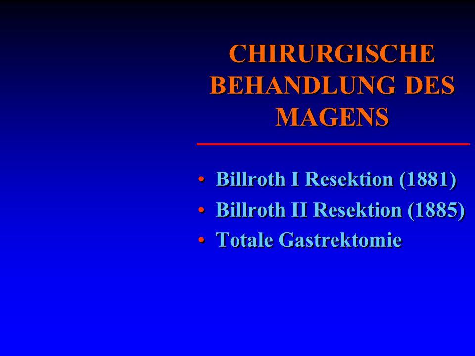 CHIRURGISCHE BEHANDLUNG DES MAGENS Billroth I Resektion (1881) Billroth II Resektion (1885) Totale Gastrektomie Billroth I Resektion (1881) Billroth I