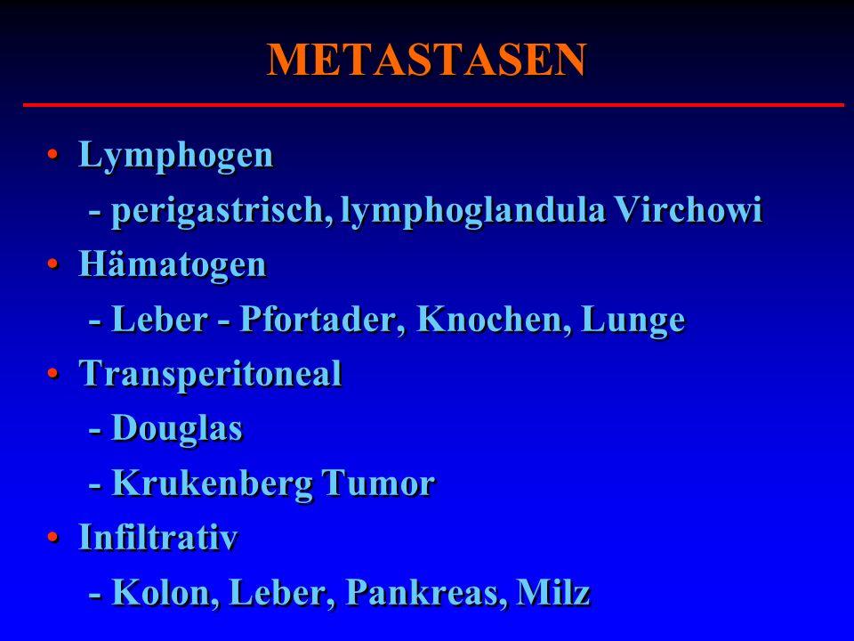 METASTASEN Lymphogen - perigastrisch, lymphoglandula Virchowi Hämatogen - Leber - Pfortader, Knochen, Lunge Transperitoneal - Douglas - Krukenberg Tum