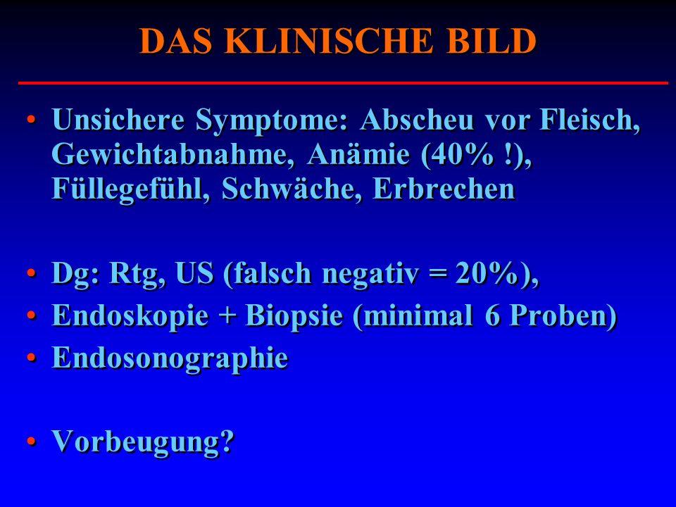 DAS KLINISCHE BILD Unsichere Symptome: Abscheu vor Fleisch, Gewichtabnahme, Anämie (40% !), Füllegefühl, Schwäche, Erbrechen Dg: Rtg, US (falsch negat