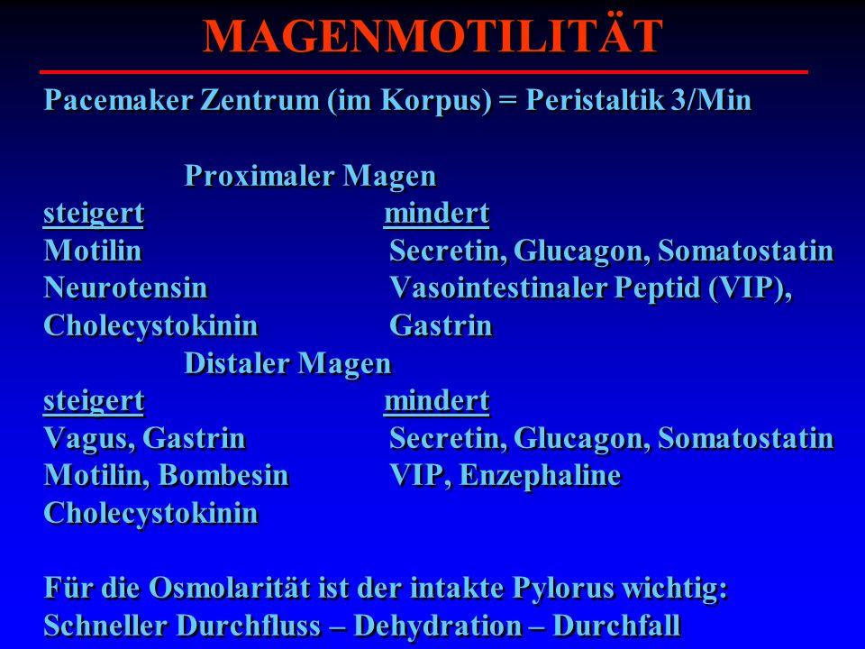 MAGENMOTILITÄT Pacemaker Zentrum (im Korpus) = Peristaltik 3/Min Proximaler Magen steigert mindert Motilin Secretin, Glucagon, Somatostatin Neurotensi