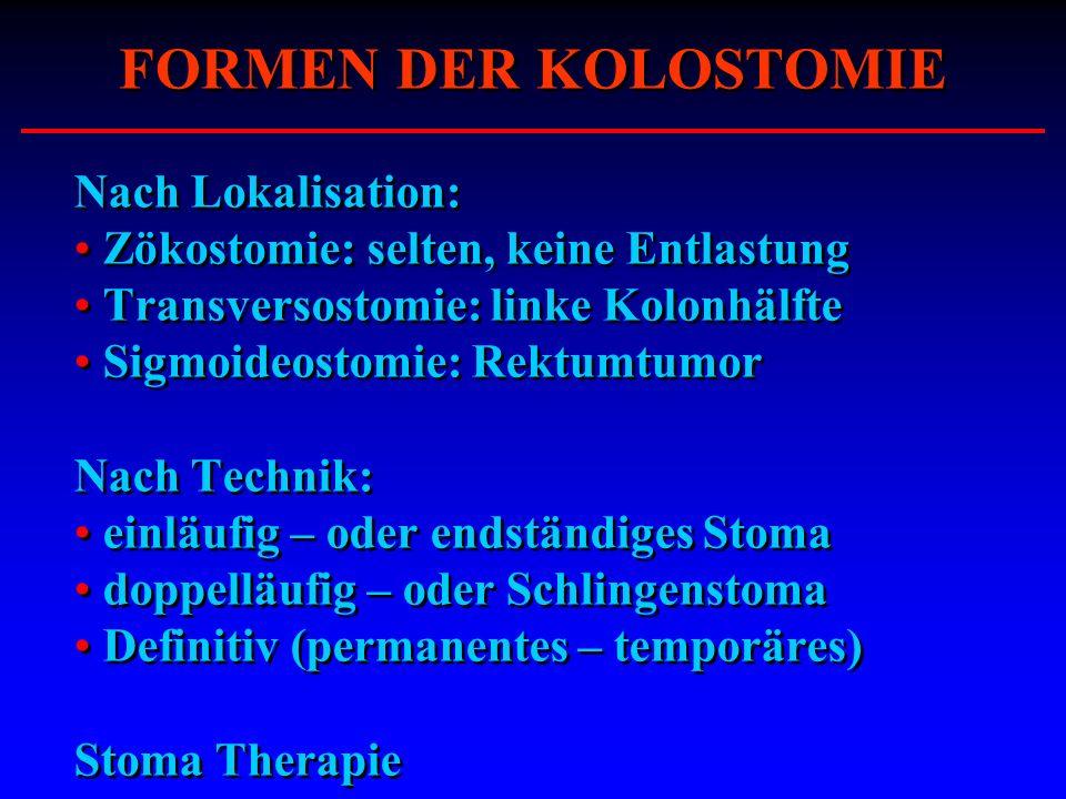 FORMEN DER KOLOSTOMIE Nach Lokalisation: Zökostomie: selten, keine Entlastung Transversostomie: linke Kolonhälfte Sigmoideostomie: Rektumtumor Nach Te