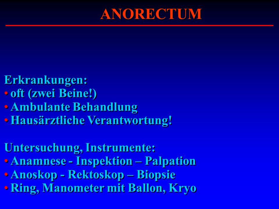 Erkrankungen: oft (zwei Beine!) Ambulante Behandlung Hausärztliche Verantwortung! Untersuchung, Instrumente: Anamnese - Inspektion – Palpation Anoskop