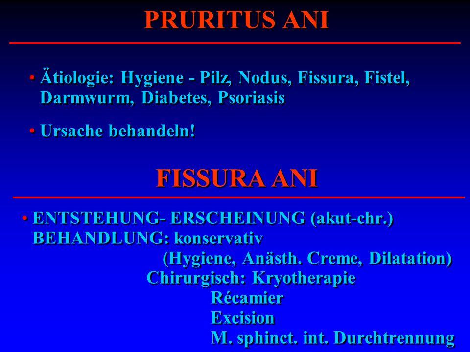ENTSTEHUNG- ERSCHEINUNG (akut-chr.) BEHANDLUNG: konservativ (Hygiene, Anästh. Creme, Dilatation) Chirurgisch: Kryotherapie Récamier Excision M. sphinc