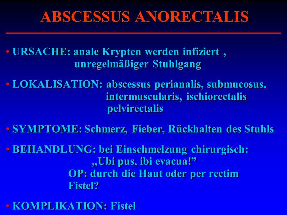 URSACHE: anale Krypten werden infiziert, unregelmäßiger Stuhlgang LOKALISATION: abscessus perianalis, submucosus, intermuscularis, ischiorectalis pelv